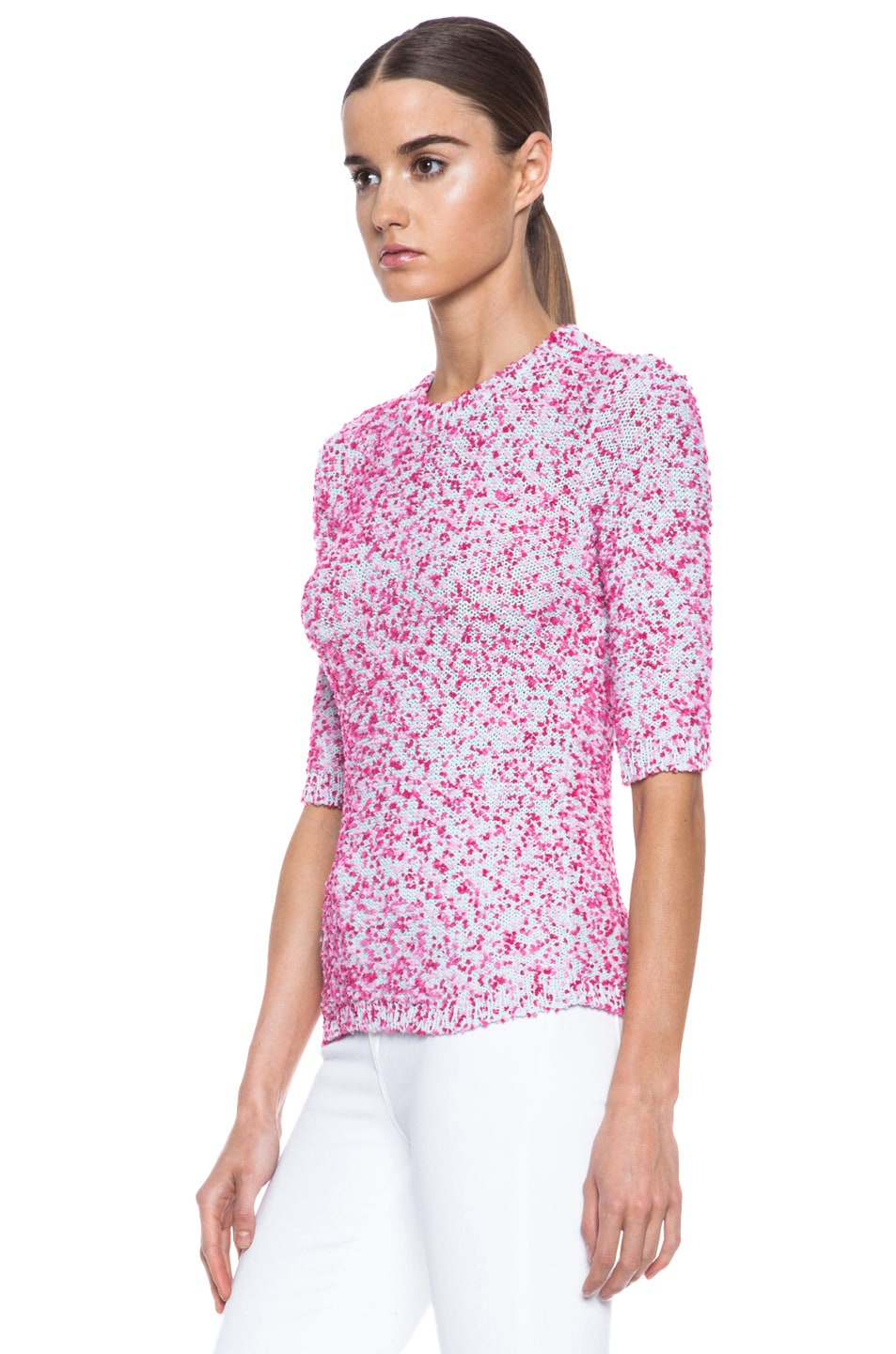 Image 2 of MSGM Pom Pom Knit Sweater in Pink