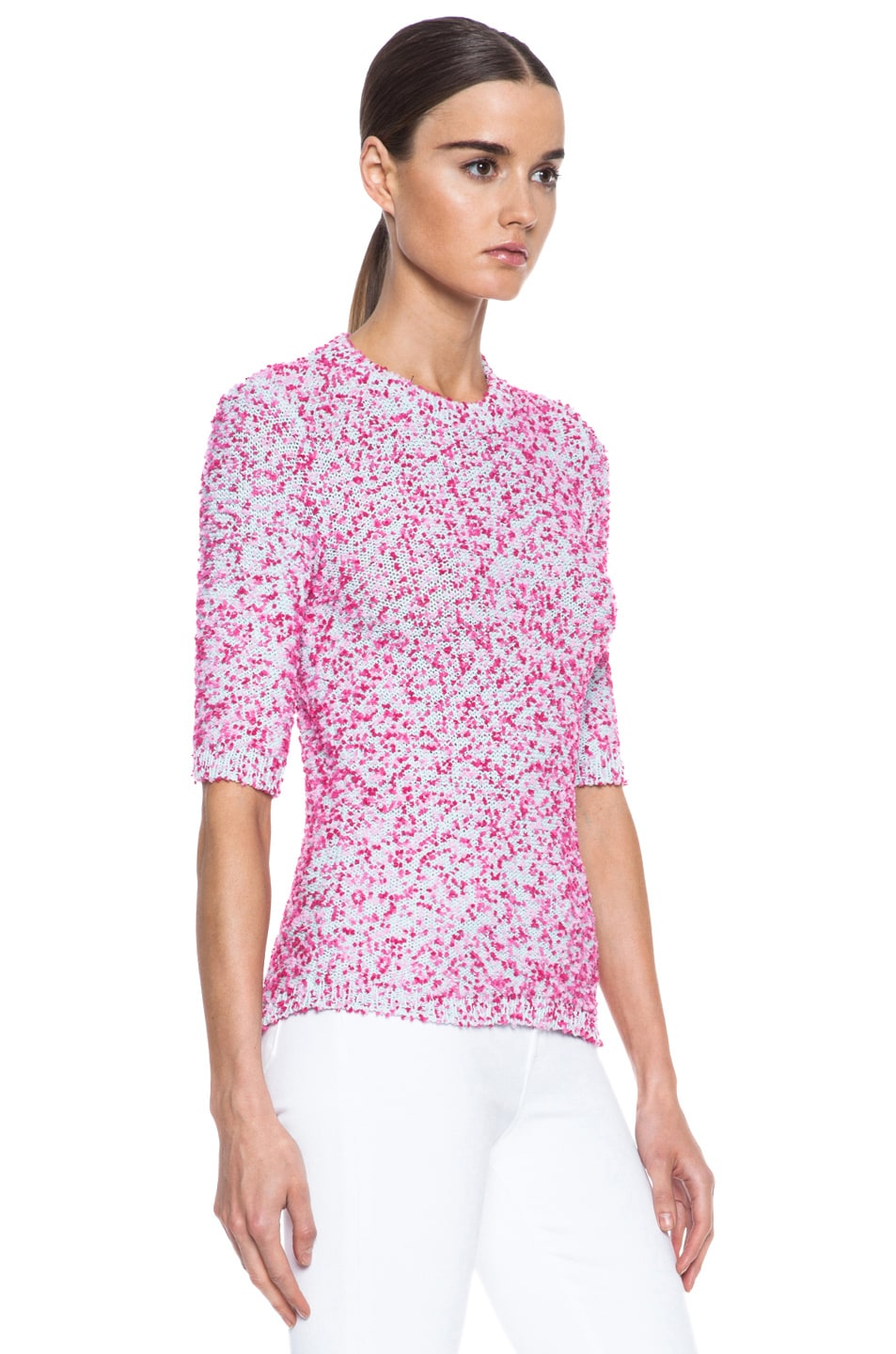 Image 3 of MSGM Pom Pom Knit Sweater in Pink