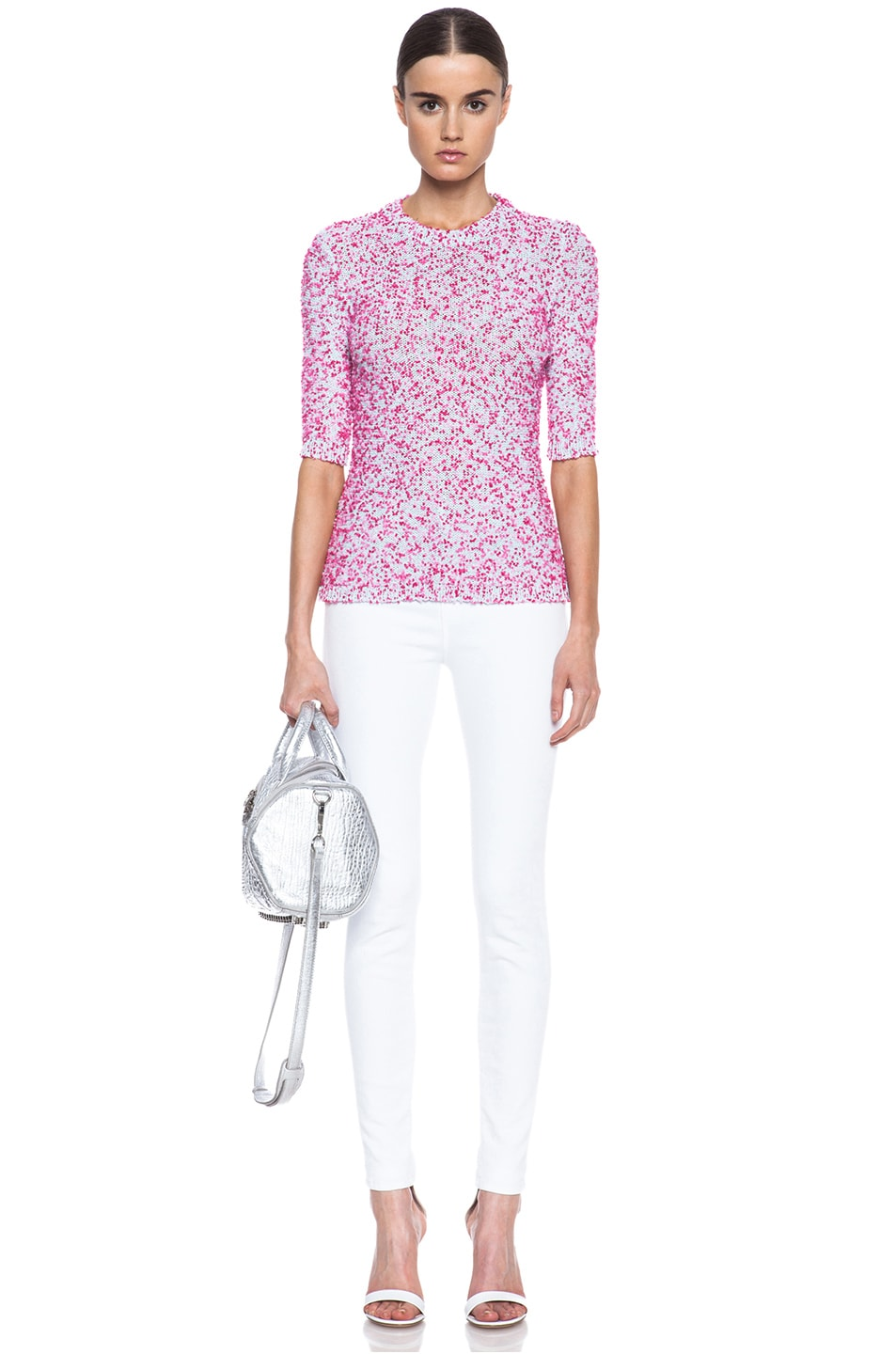 Image 5 of MSGM Pom Pom Knit Sweater in Pink
