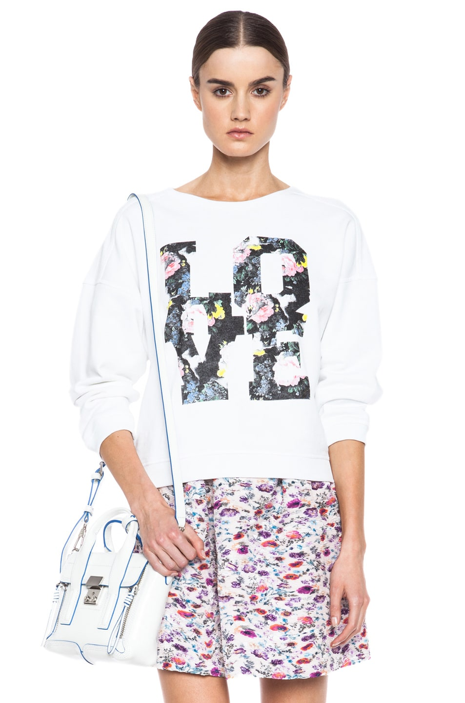 Image 1 of MSGM Love Cotton Sweatshirt in White