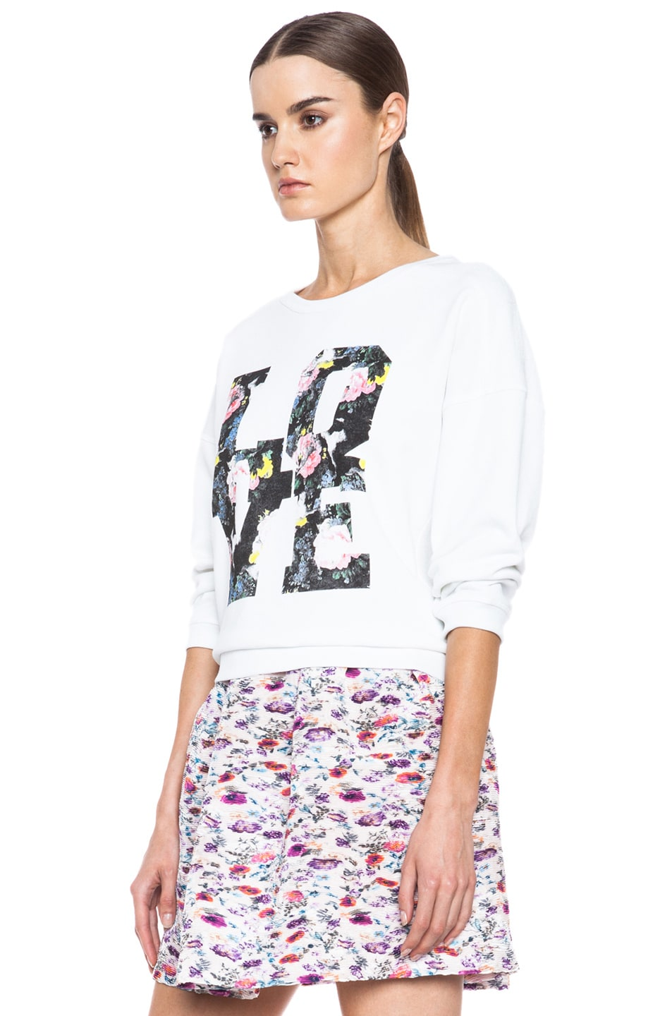 Image 2 of MSGM Love Cotton Sweatshirt in White