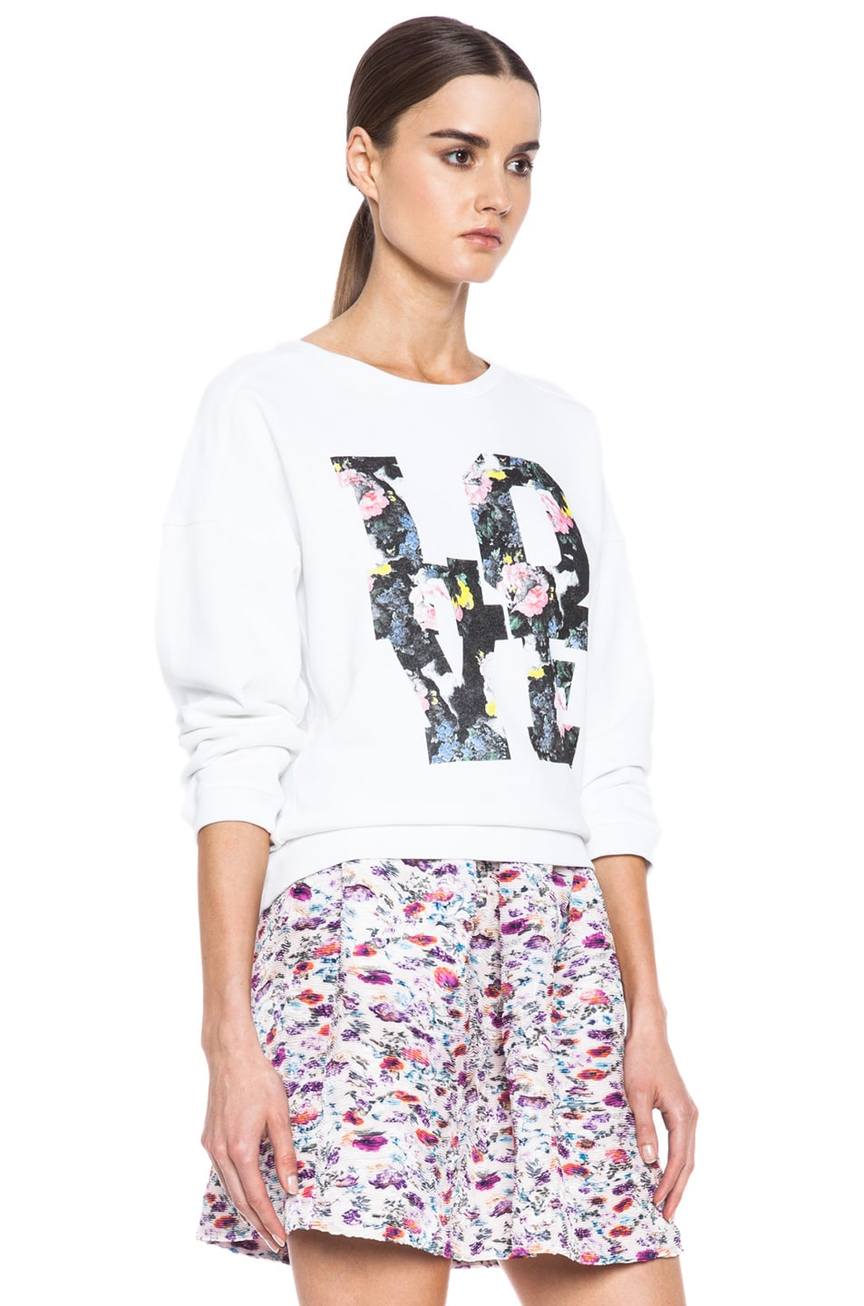 Image 3 of MSGM Love Cotton Sweatshirt in White