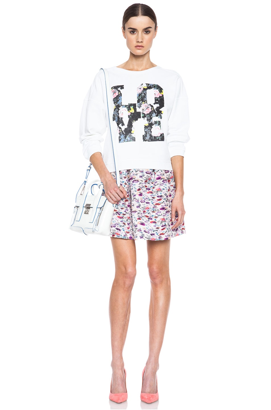 Image 5 of MSGM Love Cotton Sweatshirt in White