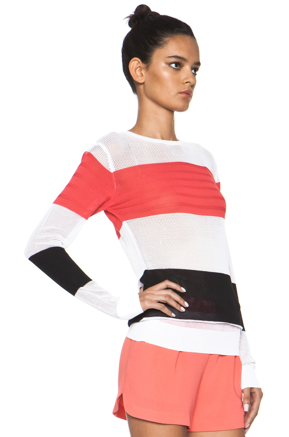 Image 3 of MSGM Striped Sweater in Neon Pink Multi