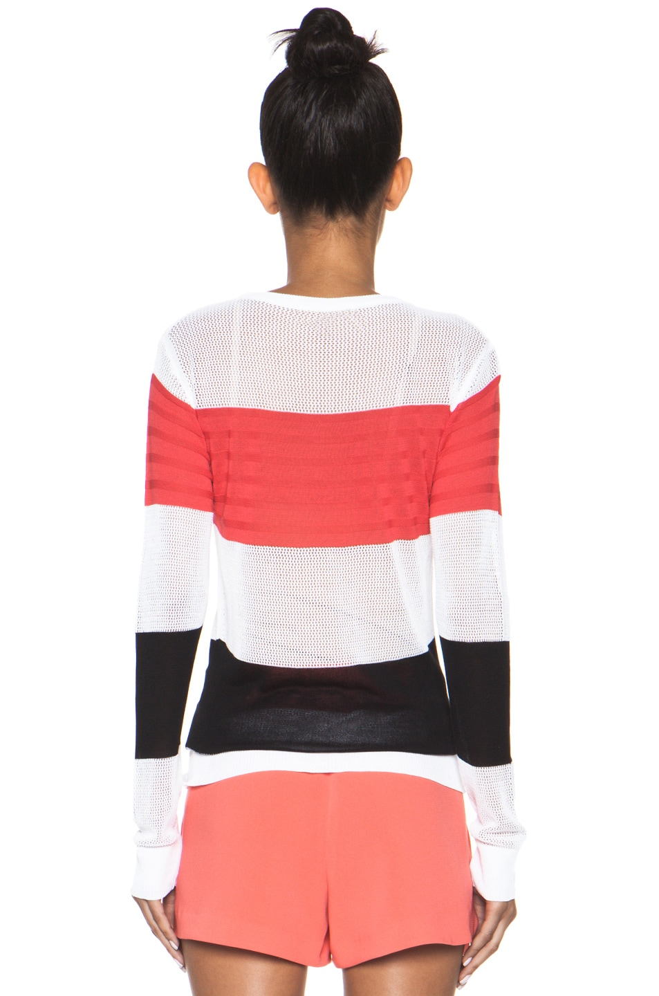 Image 4 of MSGM Striped Sweater in Neon Pink Multi