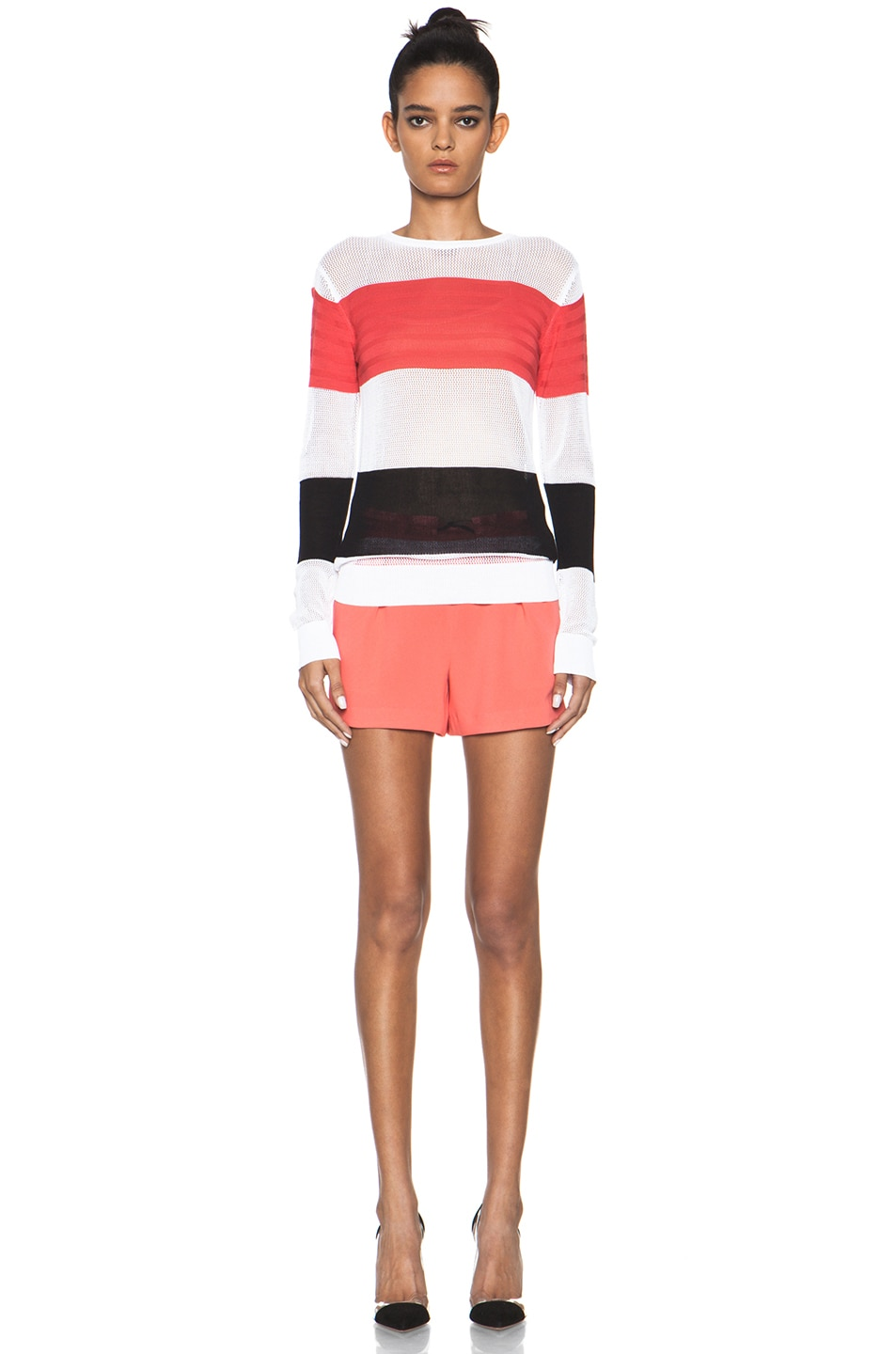 Image 5 of MSGM Striped Sweater in Neon Pink Multi