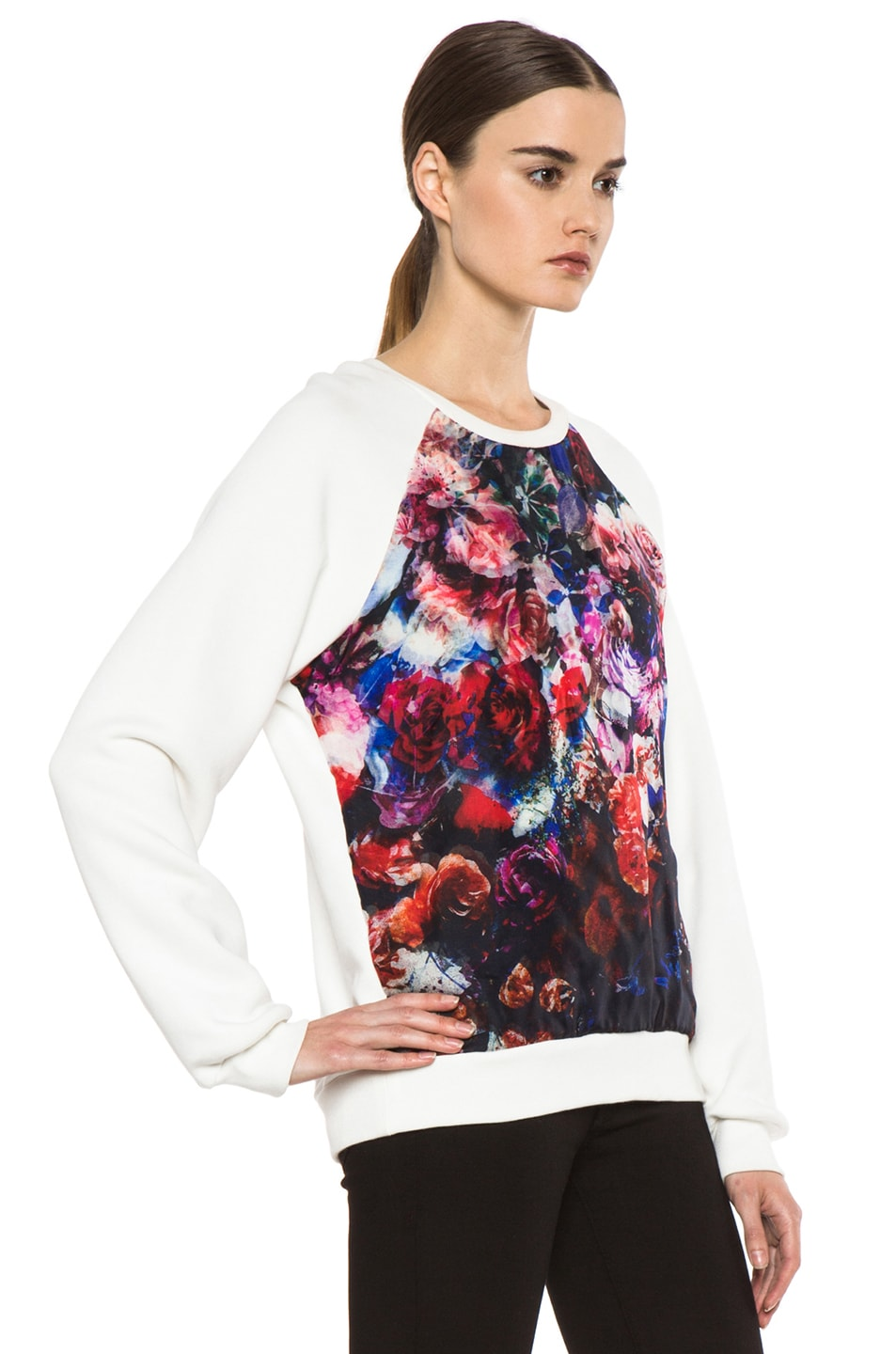 Image 3 of MSGM Organza Sweater in White & Floral