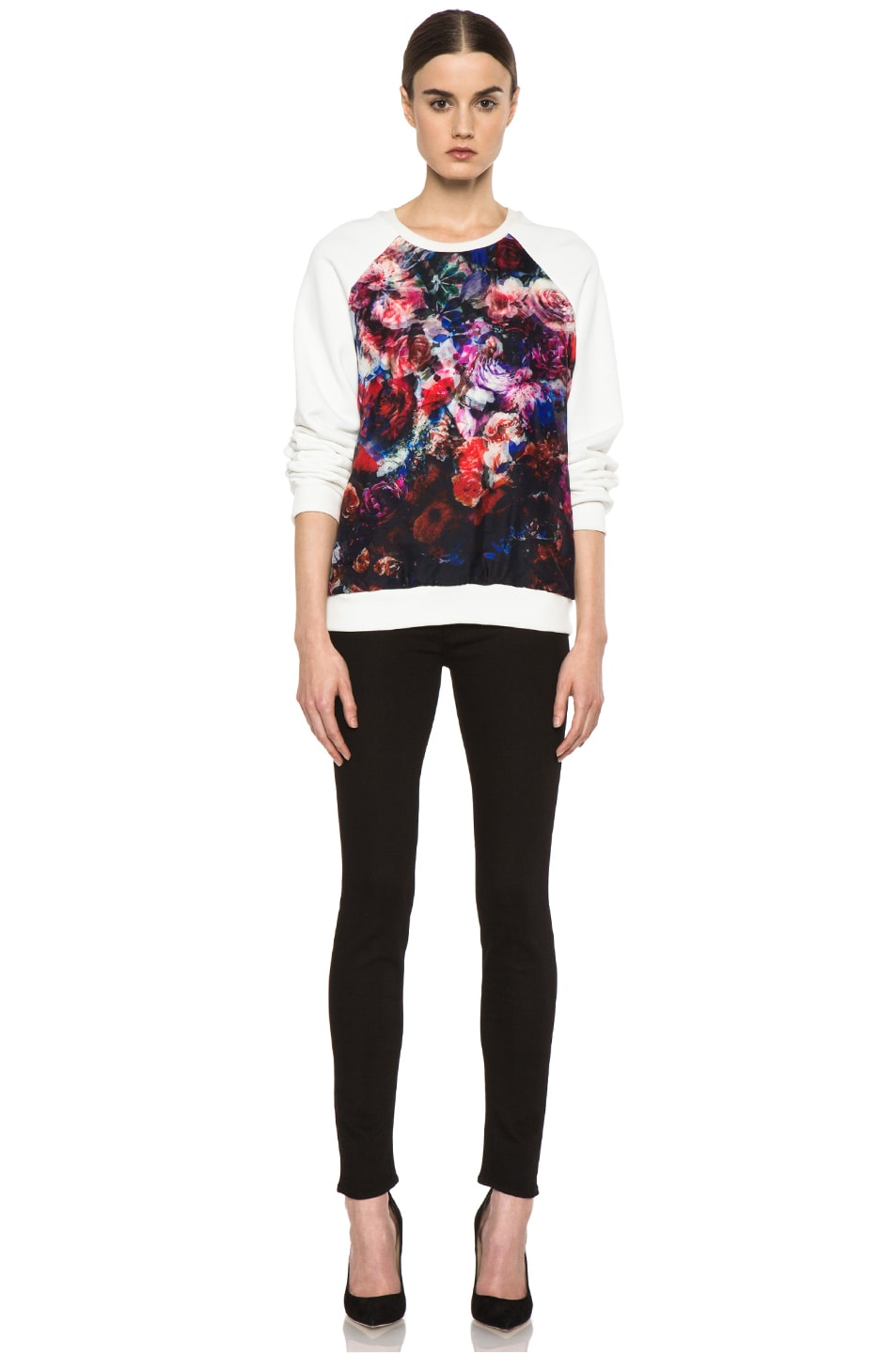 Image 5 of MSGM Organza Sweater in White & Floral