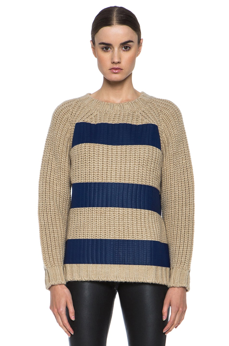 Image 1 of MSGM Taped Knit Sweater with Zip in Blue