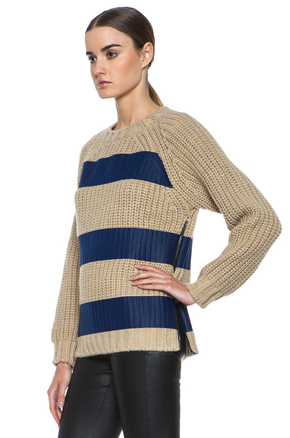 Image 2 of MSGM Taped Knit Sweater with Zip in Blue