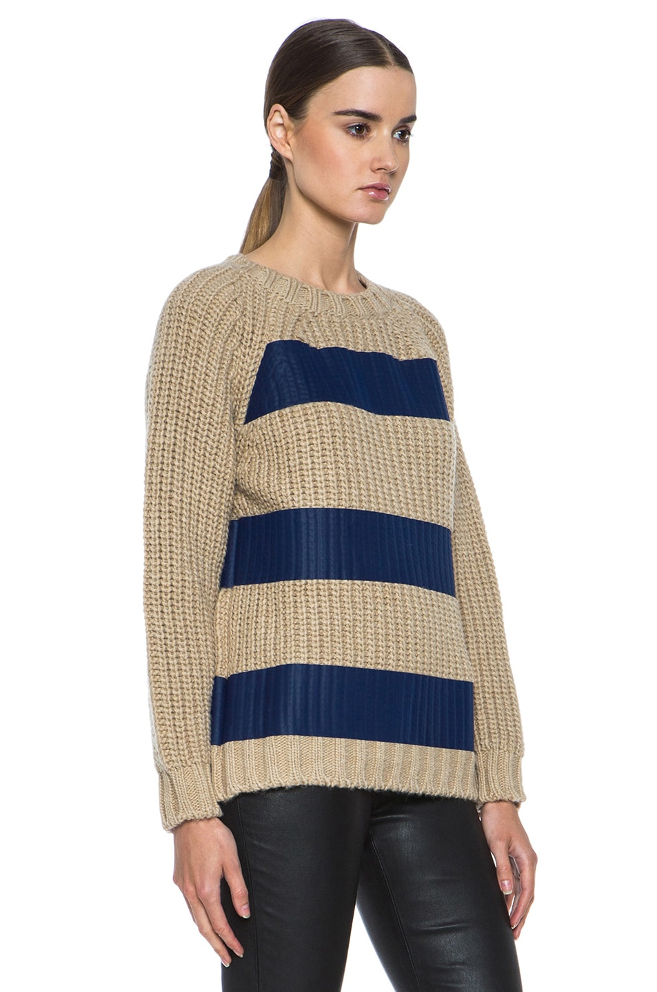 Image 3 of MSGM Taped Knit Sweater with Zip in Blue