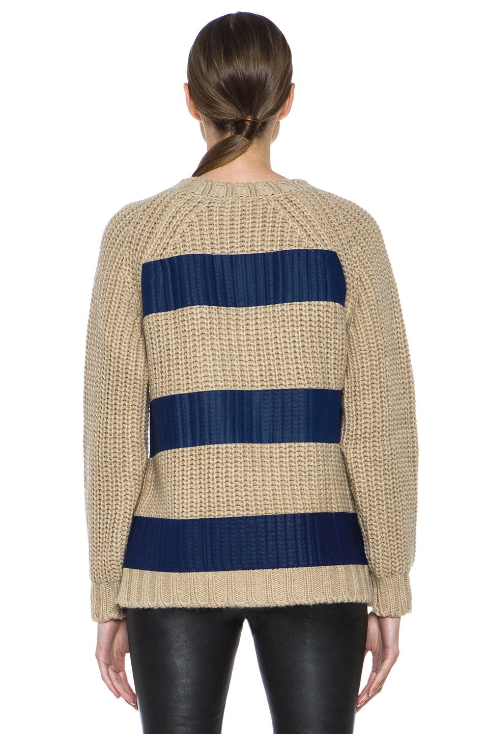 Image 4 of MSGM Taped Knit Sweater with Zip in Blue
