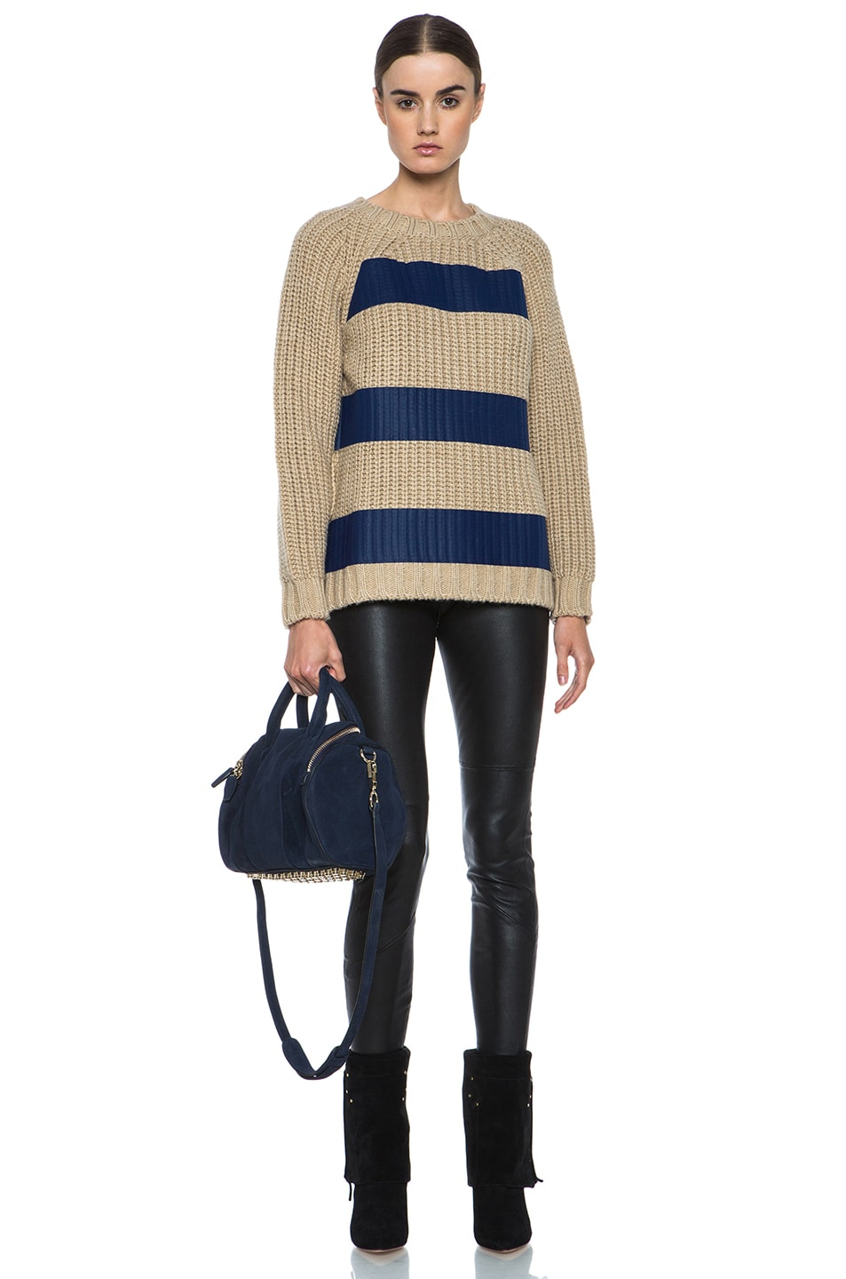 Image 5 of MSGM Taped Knit Sweater with Zip in Blue