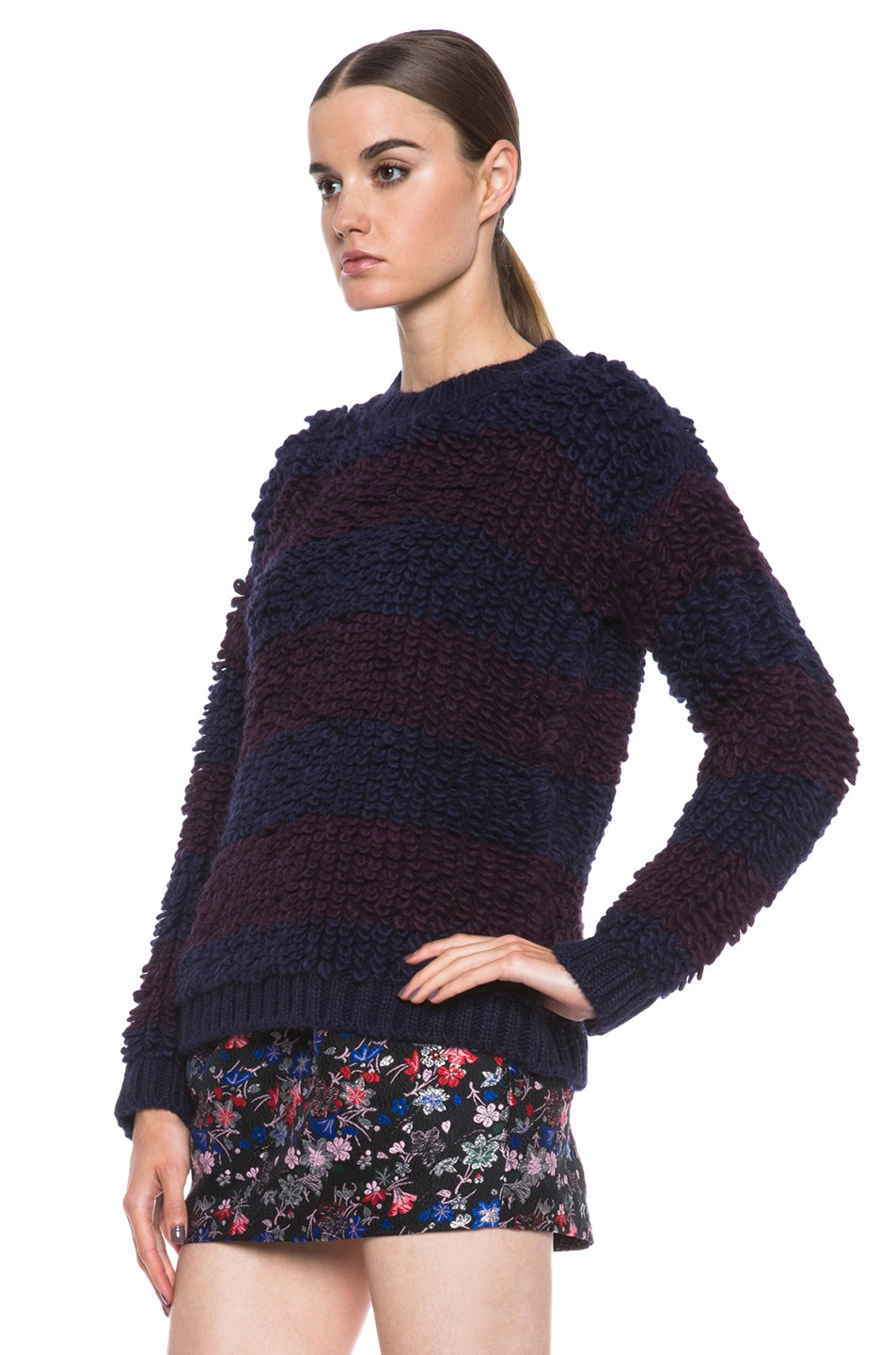 Image 2 of MSGM Knit Sweater in Blue Stripe