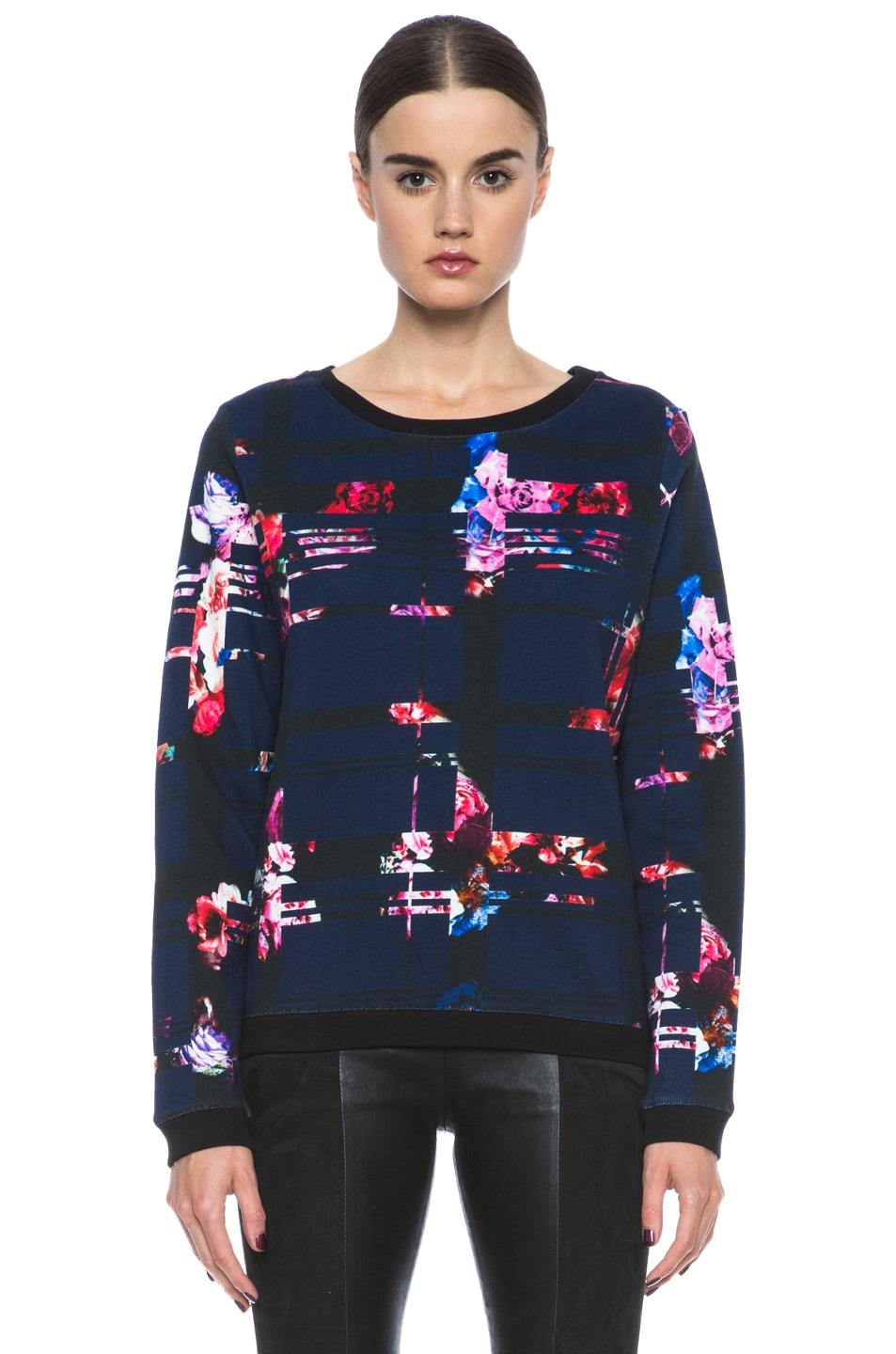 Image 1 of MSGM Check Cotton Sweater in Blue