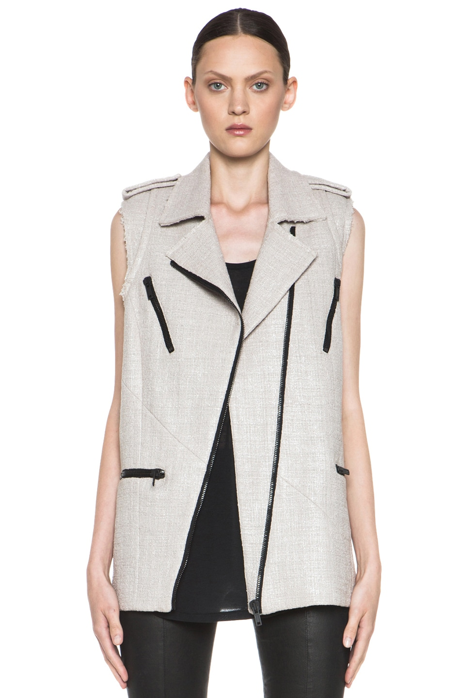 Image 1 of MSGM Tweed Vest in Beige
