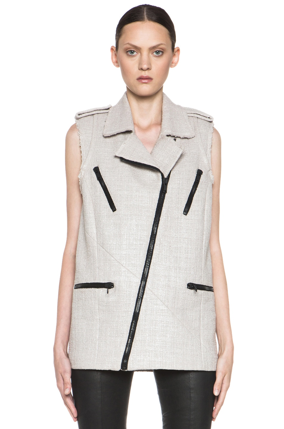 Image 2 of MSGM Tweed Vest in Beige