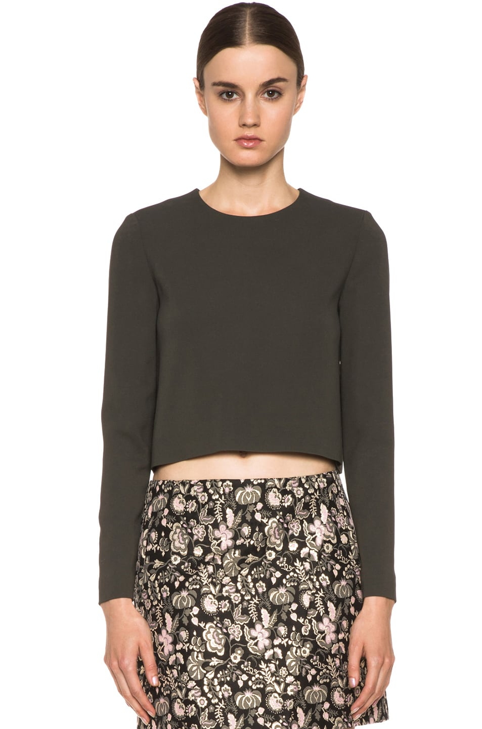 Image 1 of MSGM Open Back Viscose-Blend Crop Top in Grey
