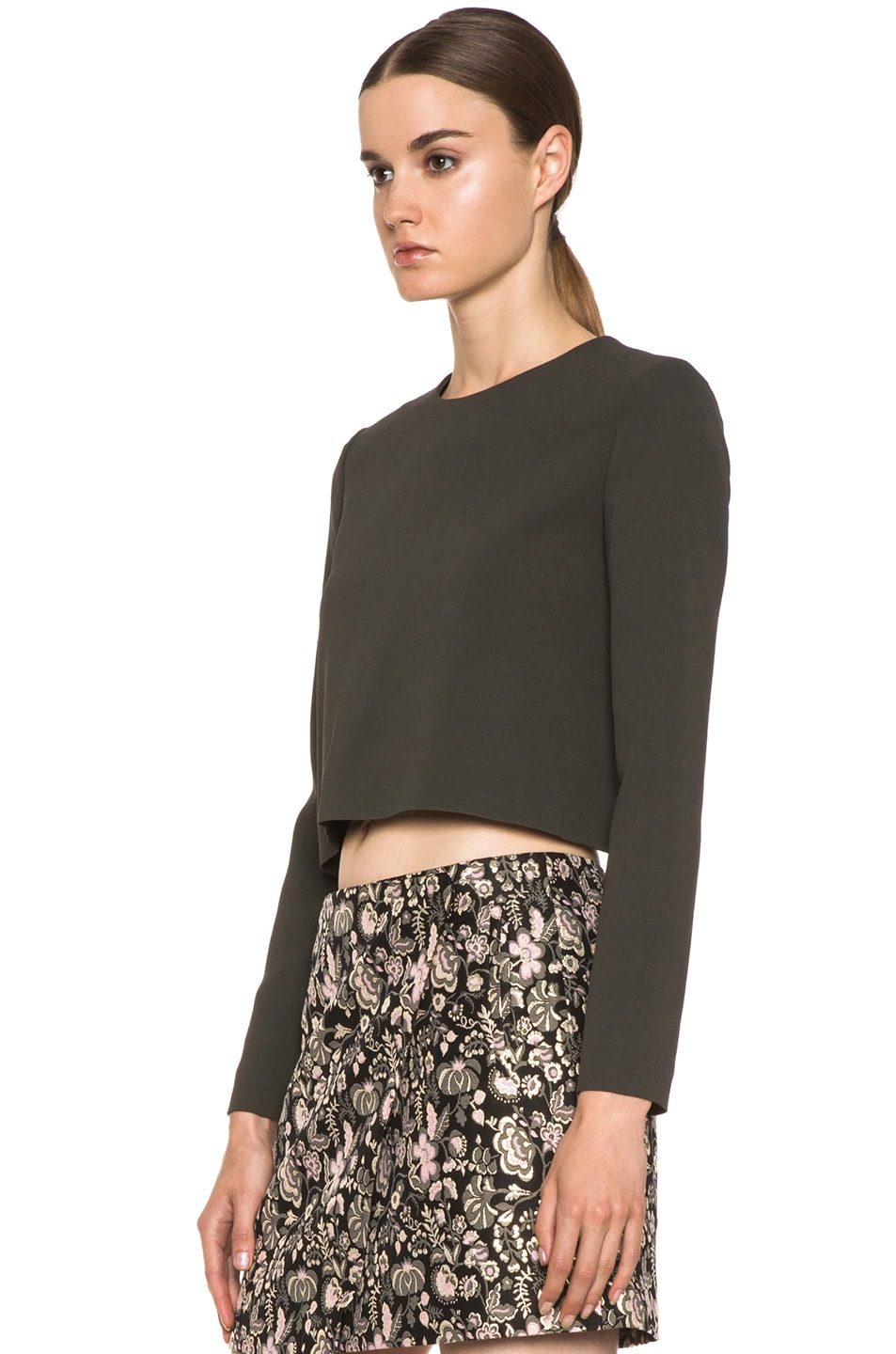 Image 2 of MSGM Open Back Viscose-Blend Crop Top in Grey