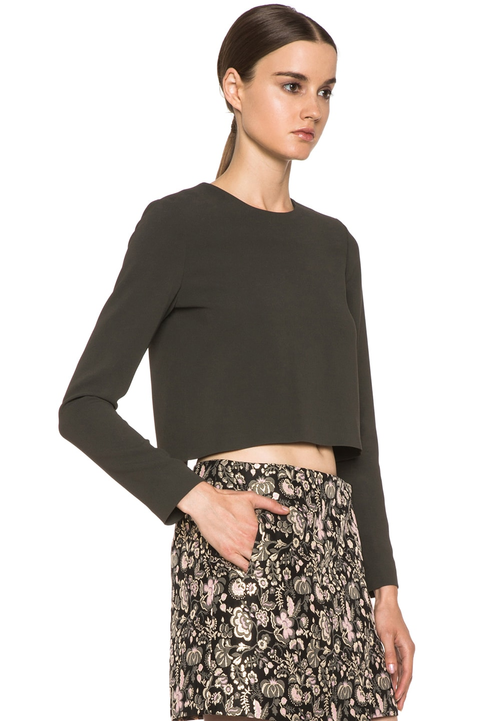 Image 3 of MSGM Open Back Viscose-Blend Crop Top in Grey