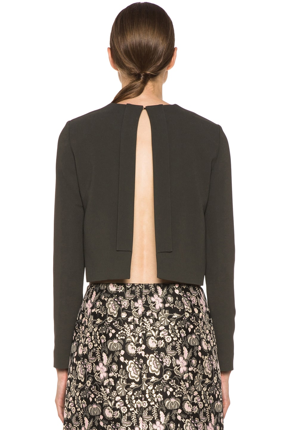 Image 4 of MSGM Open Back Viscose-Blend Crop Top in Grey