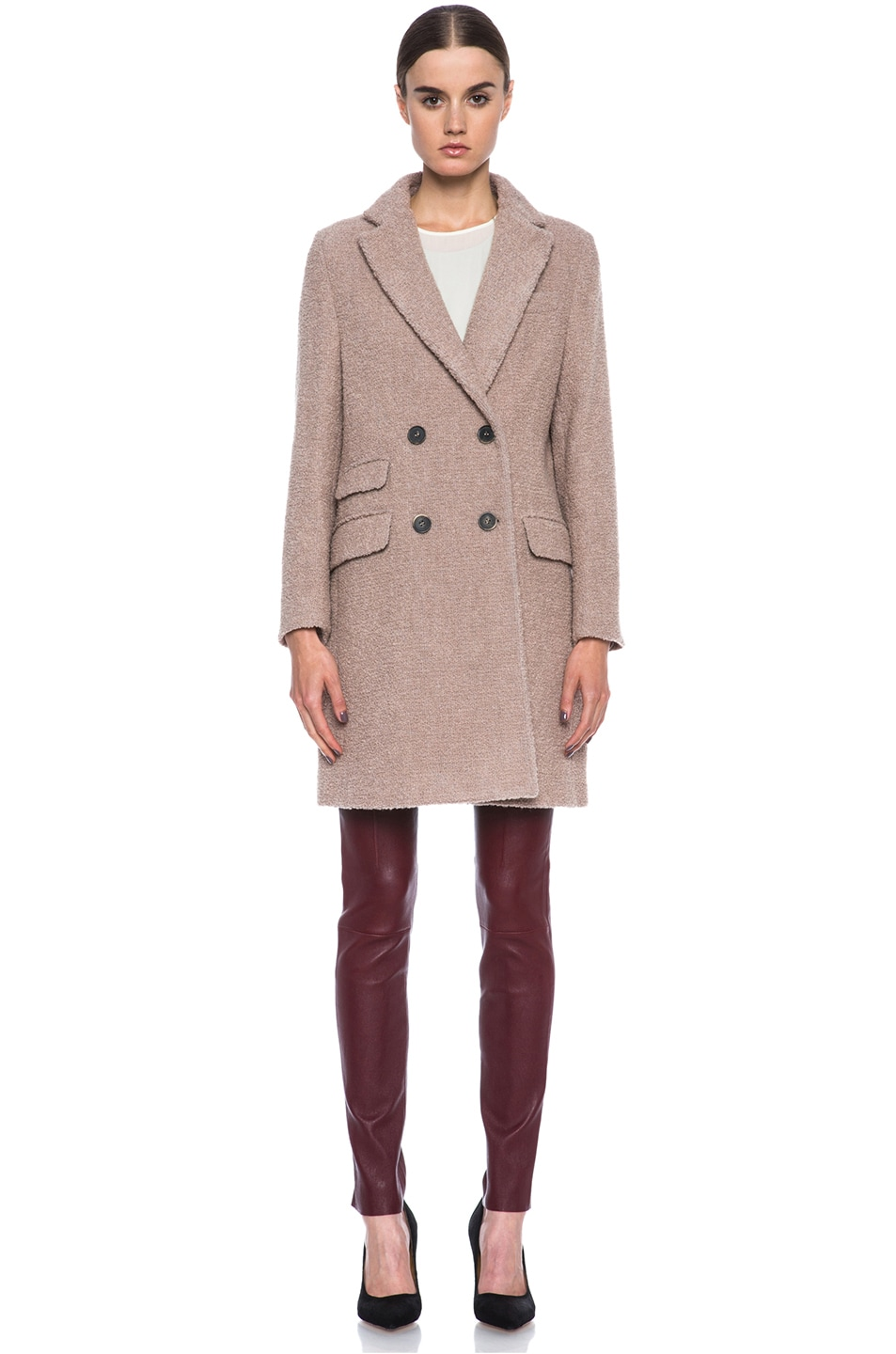 Image 2 of MSGM Wool Coat in Biege