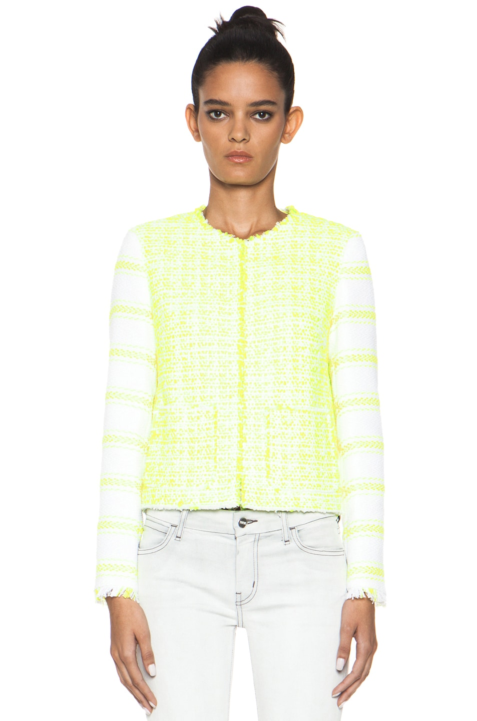 Image 2 of MSGM Striped Jacket in Yellow