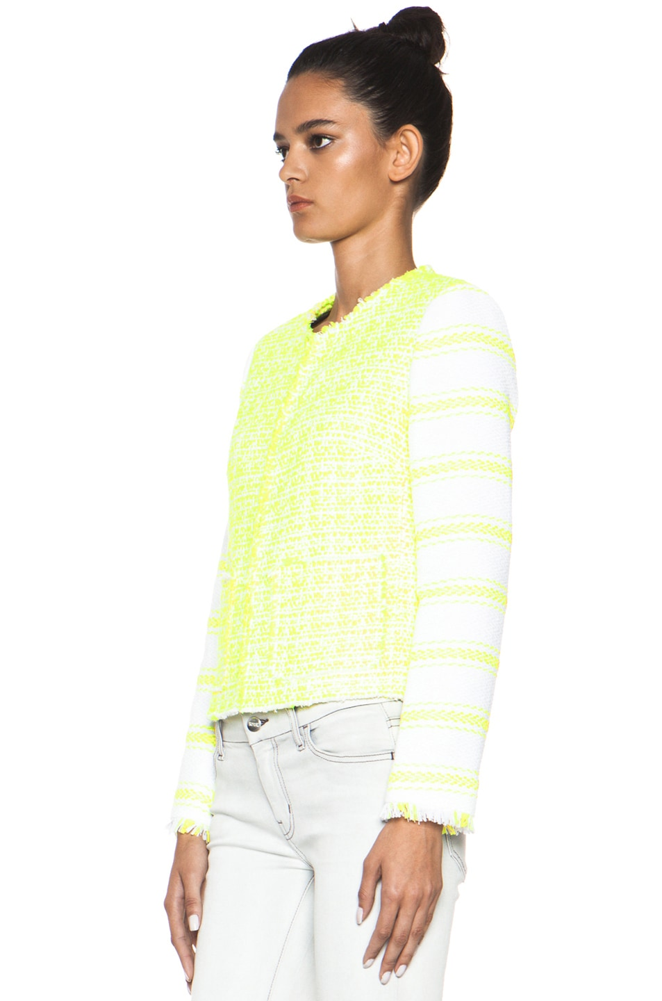 Image 3 of MSGM Striped Jacket in Yellow