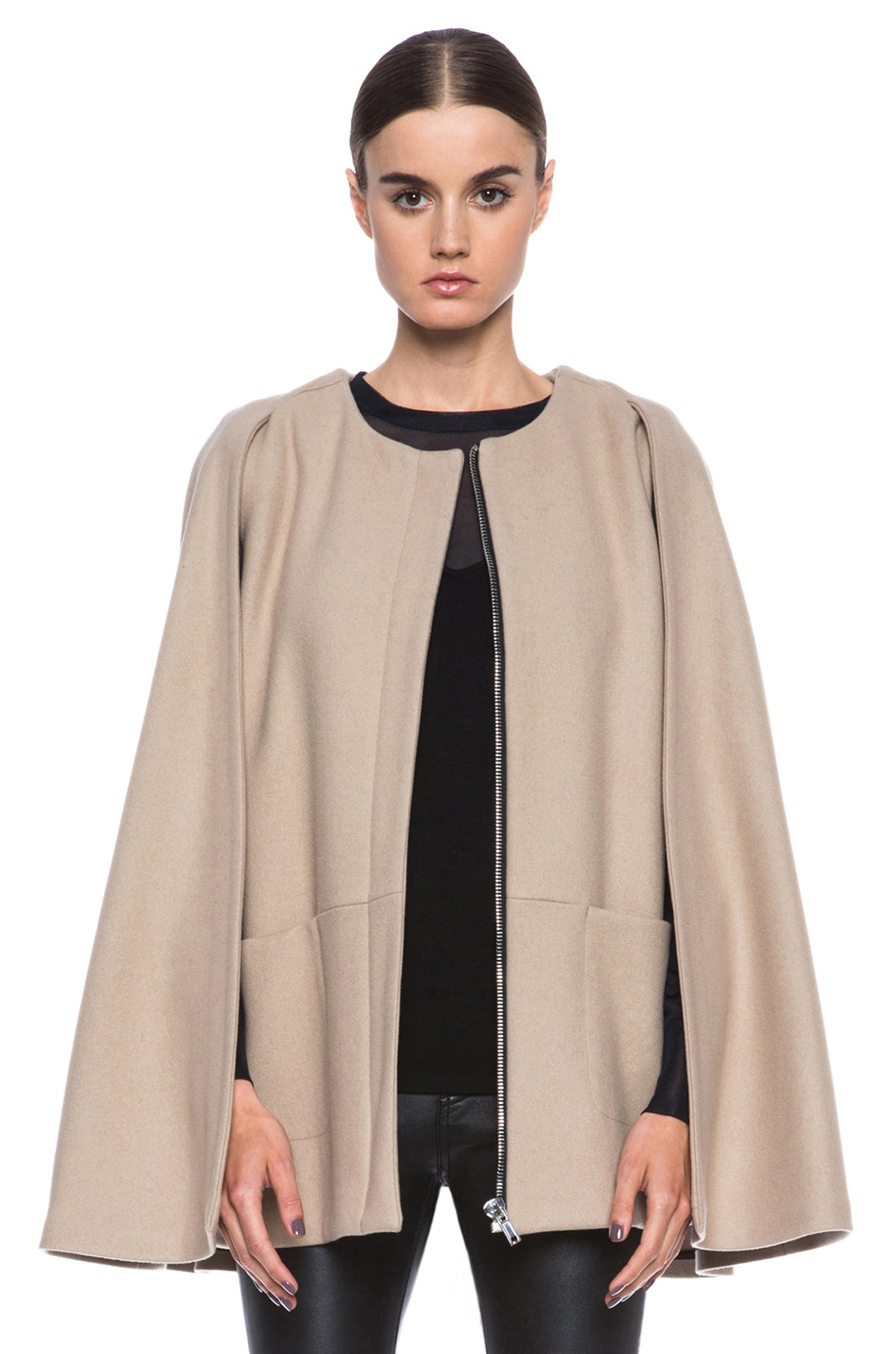 Image 1 of MSGM Wool Cape in Camel