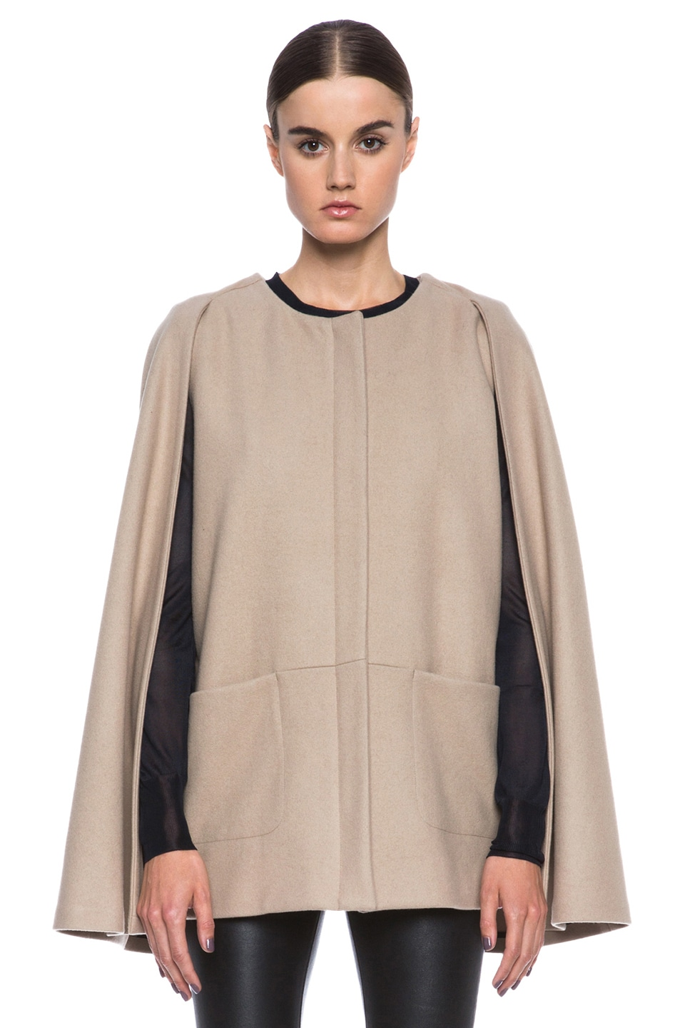 Image 2 of MSGM Wool Cape in Camel