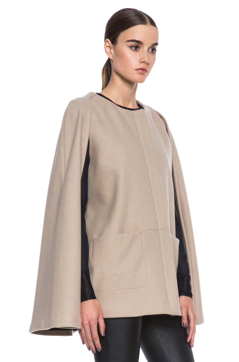 Image 4 of MSGM Wool Cape in Camel