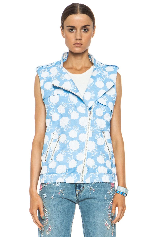 Image 2 of MSGM Floral Cotton-Blend Moto Vest in Powder Blue