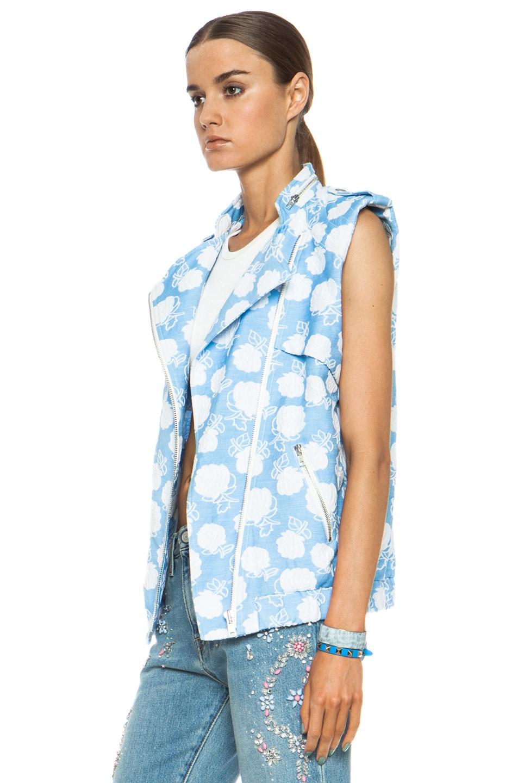 Image 3 of MSGM Floral Cotton-Blend Moto Vest in Powder Blue