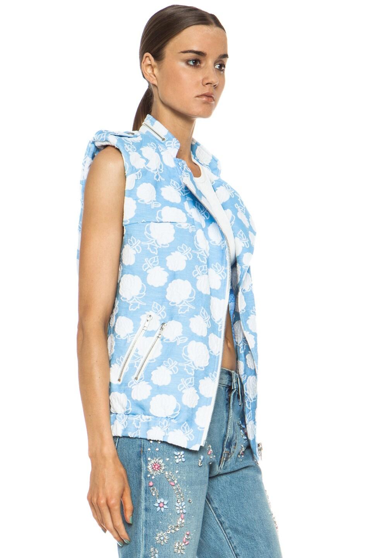 Image 4 of MSGM Floral Cotton-Blend Moto Vest in Powder Blue