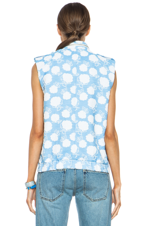 Image 5 of MSGM Floral Cotton-Blend Moto Vest in Powder Blue