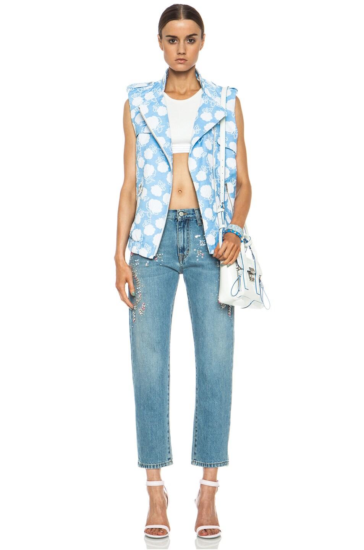 Image 6 of MSGM Floral Cotton-Blend Moto Vest in Powder Blue