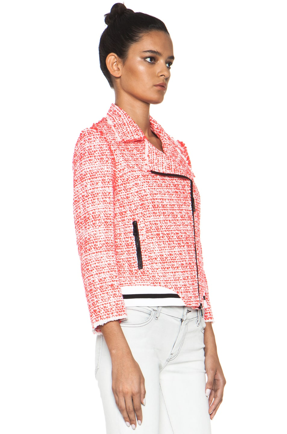 Image 4 of MSGM Tweed Athletic Moto Jacket in Hot Pink