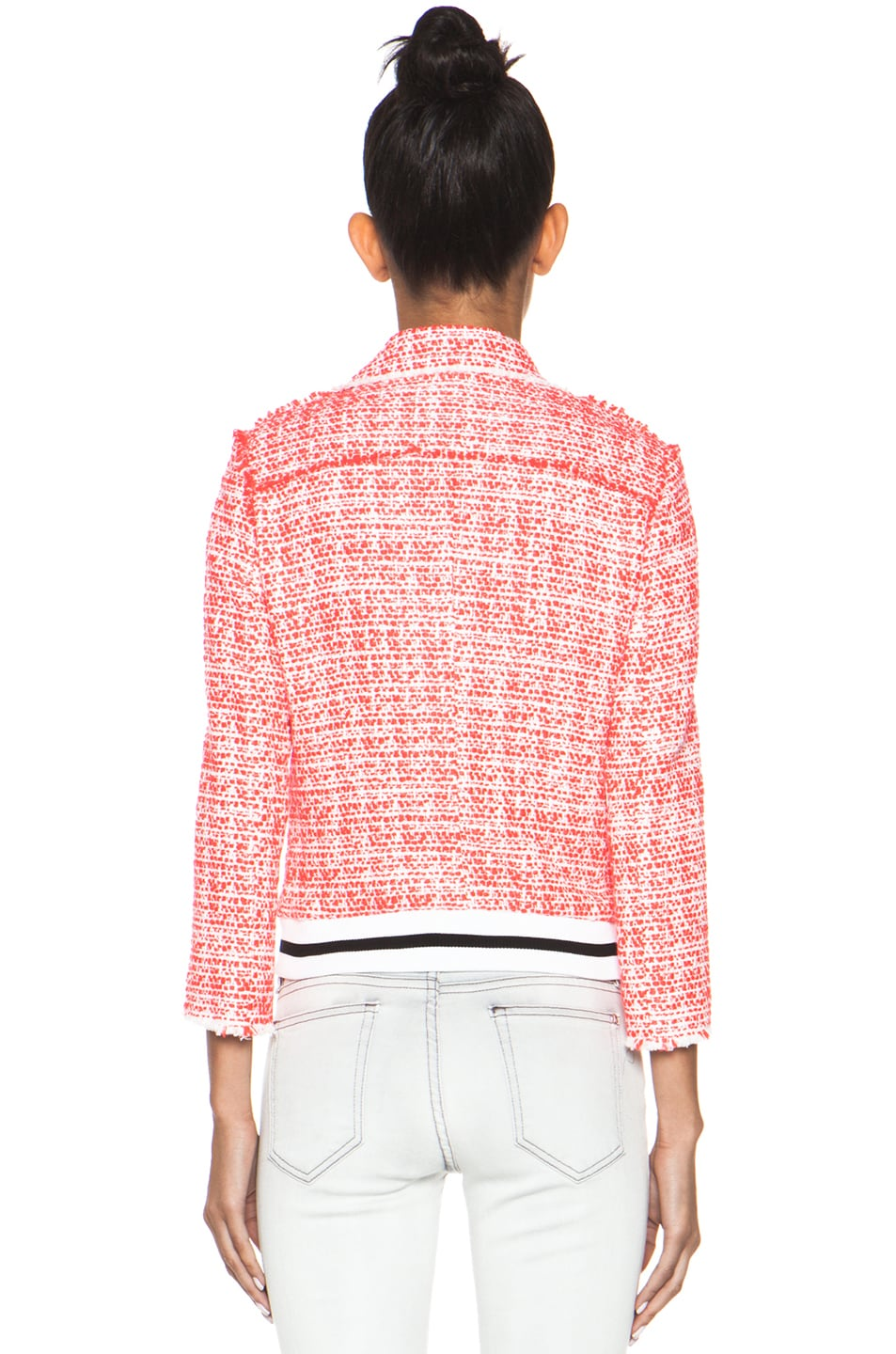 Image 5 of MSGM Tweed Athletic Moto Jacket in Hot Pink
