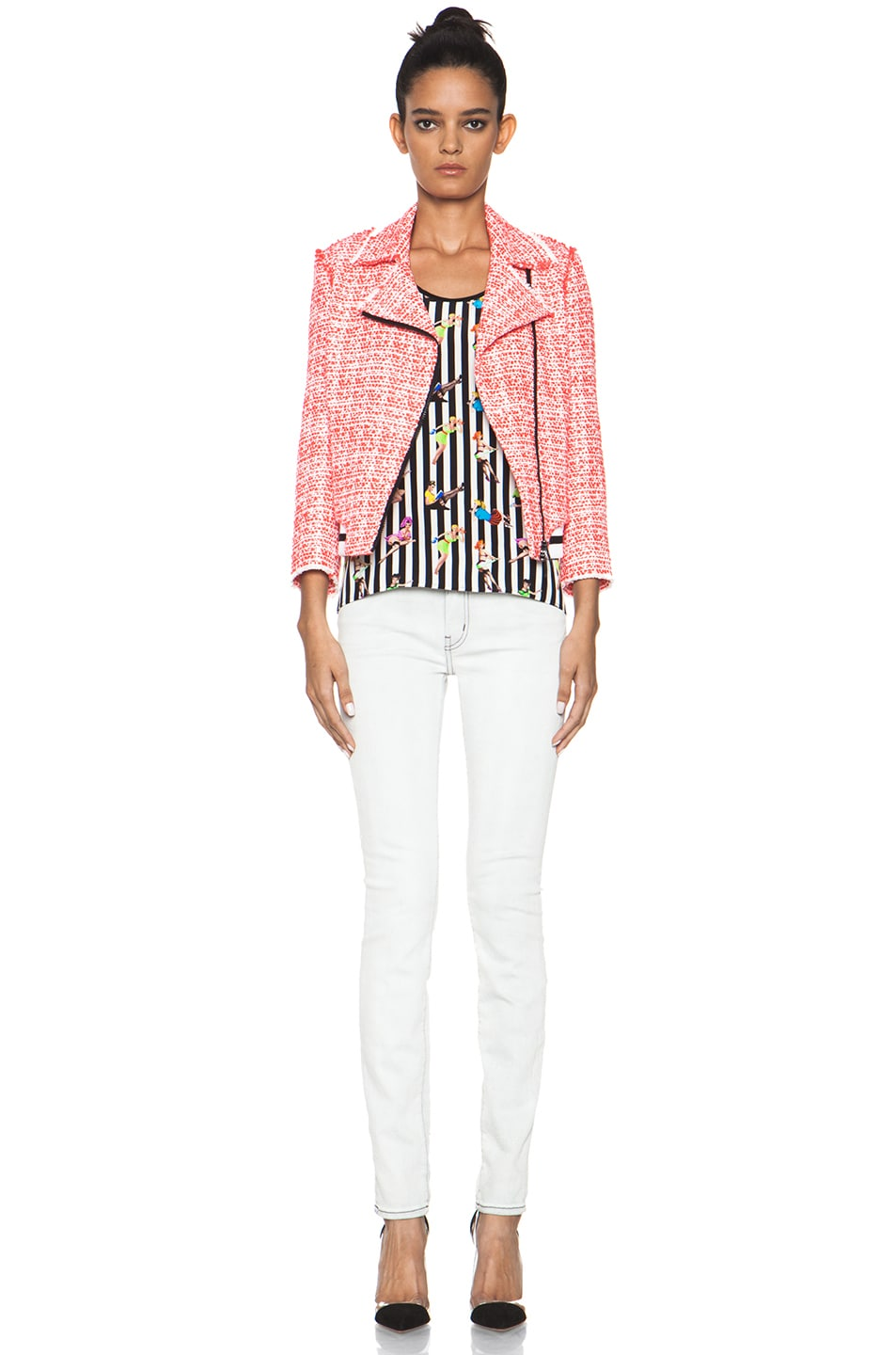 Image 6 of MSGM Tweed Athletic Moto Jacket in Hot Pink