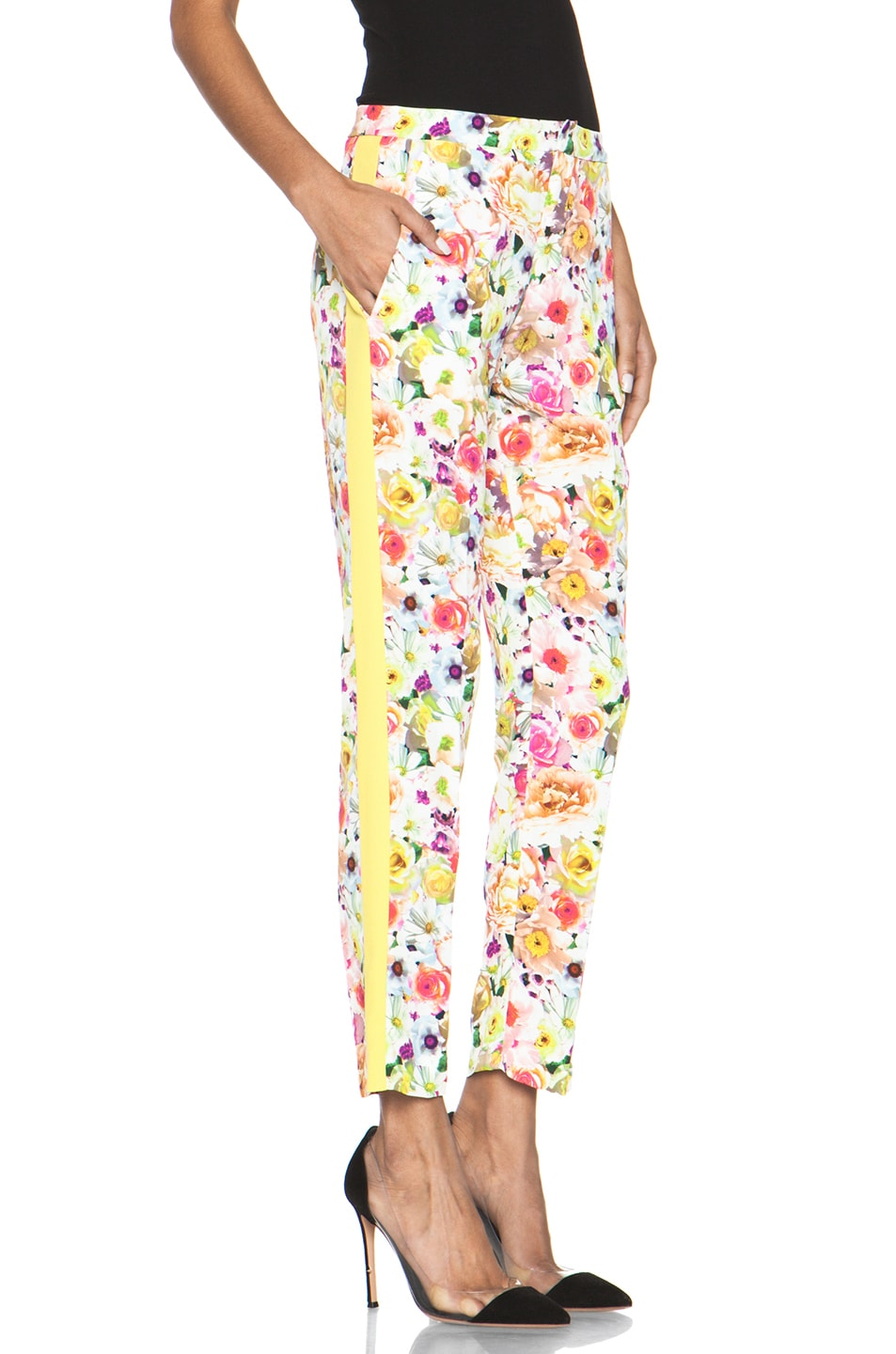Image 3 of MSGM Floral Viscose Pant in White