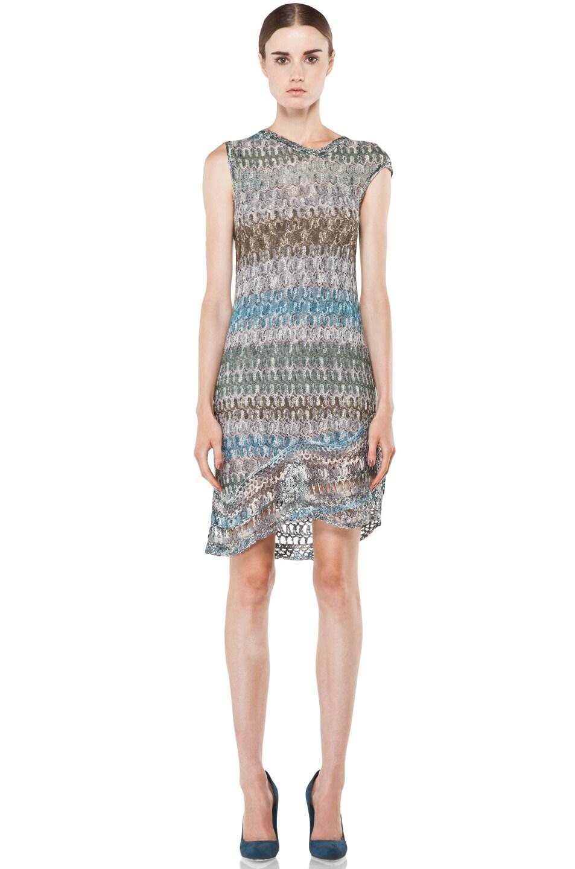Image 1 of Missoni Mini Zig Zag Metallic Dress in Blue