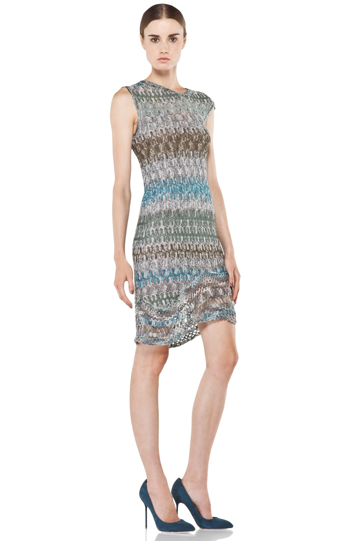 Image 3 of Missoni Mini Zig Zag Metallic Dress in Blue