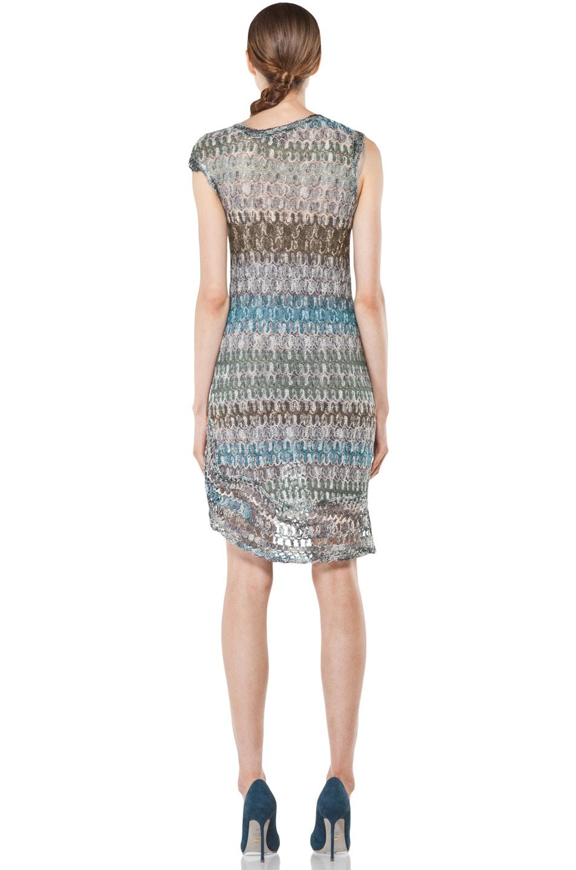 Image 4 of Missoni Mini Zig Zag Metallic Dress in Blue