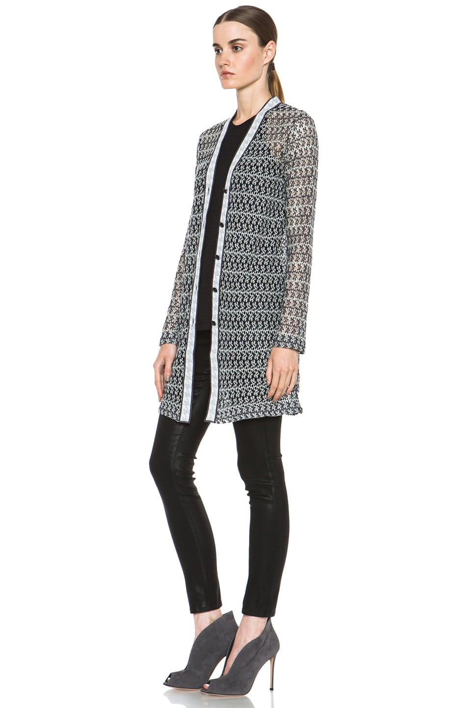 Image 3 of Missoni Houndstooth Cardigan in Black & White