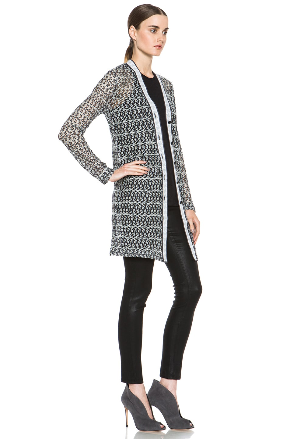 Image 4 of Missoni Houndstooth Cardigan in Black & White