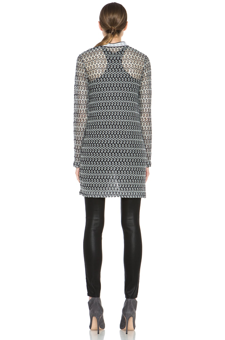 Image 5 of Missoni Houndstooth Cardigan in Black & White