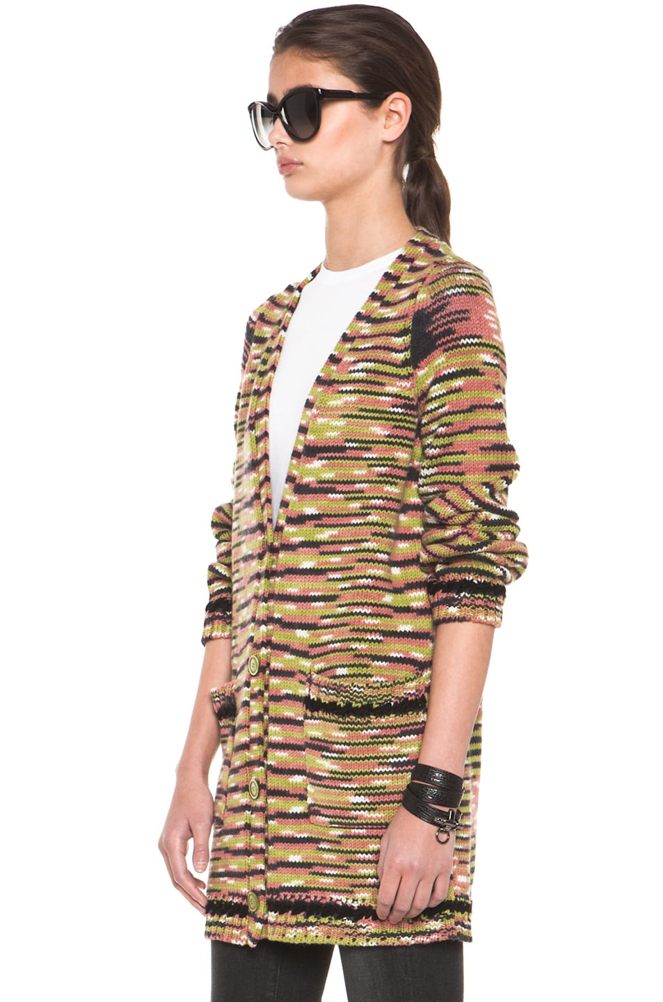 Image 2 of Missoni Thick Cashmere Cardigan in Green Multi