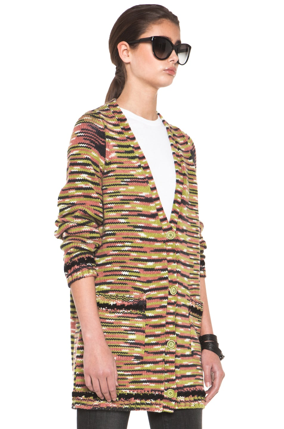 Image 3 of Missoni Thick Cashmere Cardigan in Green Multi