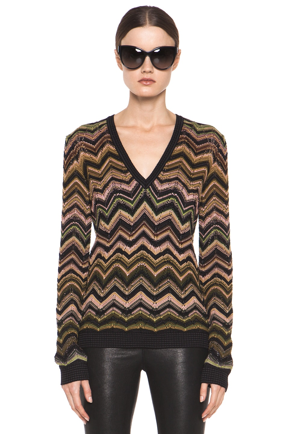 Image 1 of Missoni Fitted V Neck Sweater in Green Multi