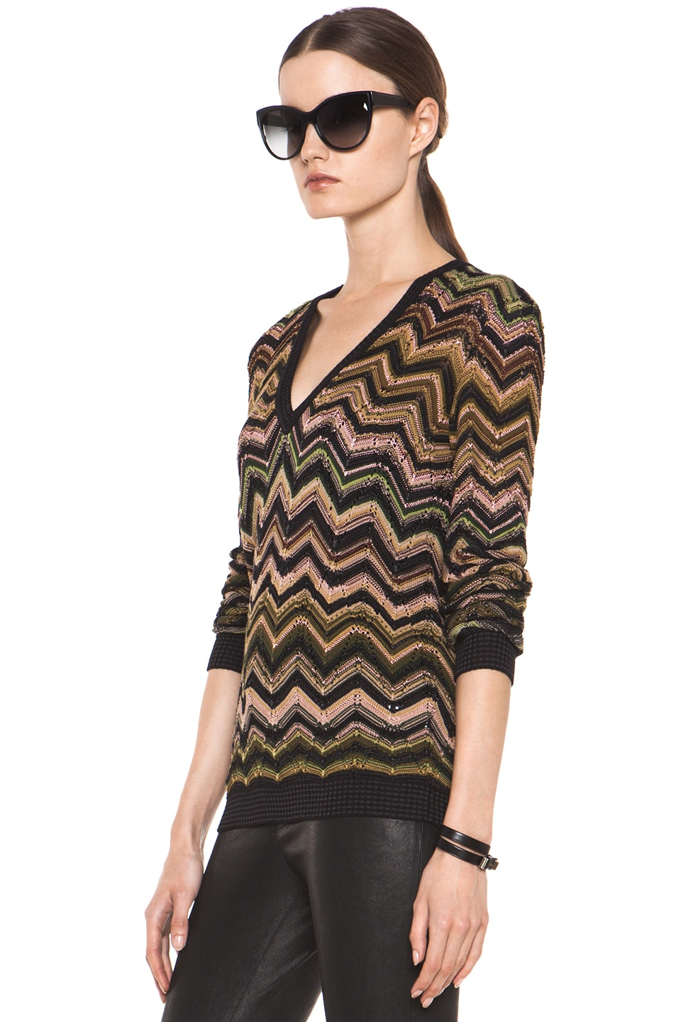 Image 2 of Missoni Fitted V Neck Sweater in Green Multi